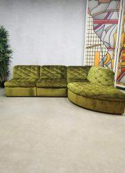 sofa lounge seating group velvet green vintage
