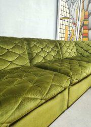 Vintage modular sofa seating element bank green