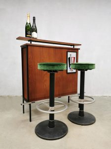 Vintage seventies cocktail bar cabinet barstools