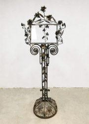 Flower metal Midcentury reading stand menu holder metal glass Jugenstil leesstandaard metaal glas Roses