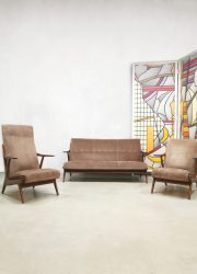 Vintage Danish design lounge set sofa Deense armchairs bank