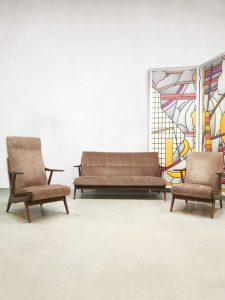 Vintage Danish design lounge set sofa Deense armchairs bank