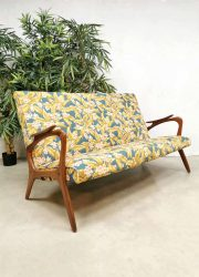 vintage Deense bank sofa teak wood flower dessin