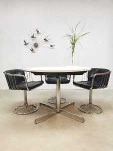 Vintage design round extendable dining table ronde eetkamertafel