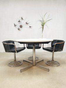 Vintage design round extendable dining table ronde eetkamertafel