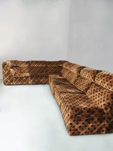 Vintage modular sofa chocolate print modulaire lounge bank