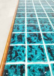 vintage tile salontafel tegel coffee table aqua blue