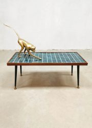 Vintage ceramic tile coffee table tegel salontafel 'Aqua blue'