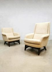 Vintage Dutch design ecru armchairs easy chairs lounge fauteuils
