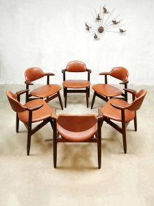 Vintage koehoorn eetkamerstoelen Tijsseling Dutch design dining chairs