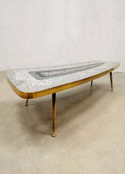 midcentury modern design brass coffee table mosaic tile table salontafel