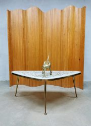 Vintage mosaic brass coffeetable salontafel messing 'Traingle'