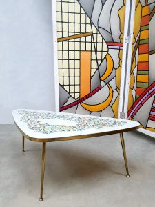Vintage mosaic brass coffeetable salontafel messing 'Traingle'