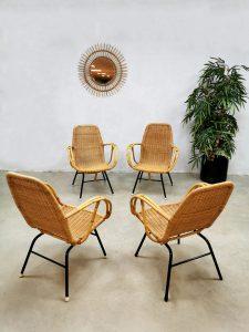 Vintage rattan armchairs rotan lounge stoel 'gardenset'