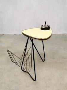 Vintage tripod table ashtray magazine holder bijzettafel lectuurbak