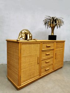 Vintage bamboo rattan sideboard cabinet bamboe dressoir Hollywood Regency style