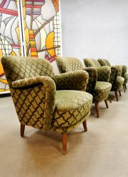 Vintage armchair cocktail chair lounge fauteuil print 'ton sur ton'