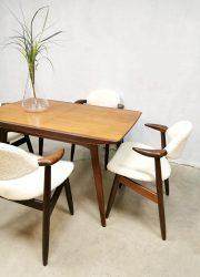 Vintage Dutch design extendable dining table eetkamertafel Webe Louis van Teeffelen