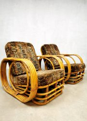 vintage rotan lounge chair rattan armchair Paul Frankl style Rohe Noordwolde