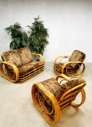 Vintage rattan bamboo armchairs sofa bamboe rotan loungeset 'Boho style'
