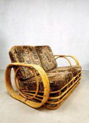 vintage retro rotan rattan sofa lounge bank Ibiza style Paul Frankl style