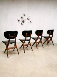 Louis van Teeffelen vintage design eetkamerstoelen Webe dining chairs scissor