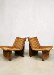 Vintage Dutch design easy chairs lounge fauteuils '70's minimalism'