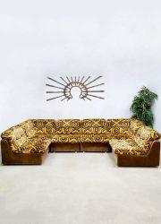 Seventies velvet modular vintage sofa modulaire lounge elementen bank