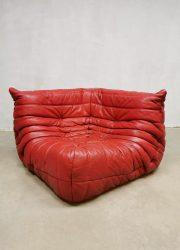 Midcentury vintage design red leather corner sofa Togo hoek bank Ligne Roset