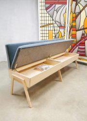 industrial dining couch blue velvet eetkamer bank klepbank