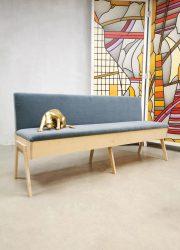 Stoere klepbank zitbank Bestwelhip dining couch blue velvet