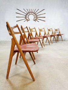 Vintage design CH29 'sawbuck' dining chairs eetkamerstoelen Hans Wegner