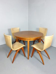 Vintage Dutch design dining set chairs table eetkamer stoelen tafel 'van Os' Culemborg