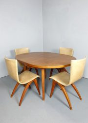 jaren 50 eetkamer set tafel stoelen dining set table wing chairs fifties van Os