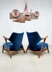 vintage design arm chairs bluie velvet lounge fauteuils