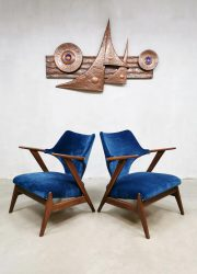 Dutch design teak easy chairs arm chair blue velvet