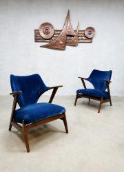 Vintage Dutch design armchairs lounge fauteuils blue velvet