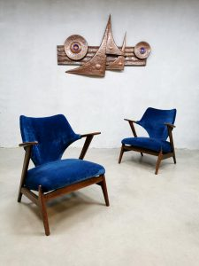 Vintage Dutch design armchairs lounge fauteuils blue velvet