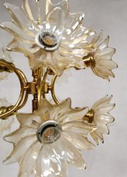 Eighties vintage design bloem lamp hanglamp flower pendant lamp chandelier brass