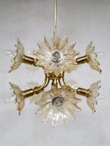 Pendant chandelier brass glass flower hanglamp vintage seventies pendant