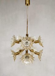Vintage design brass chandelier pendant lamp hanglamp 'glam flower'
