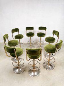 Vintage Swedish design barstools velvet green barkrukken Borje Johanson