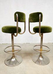 Vintage design Sweden barstools velvet green barkrukken Johanson