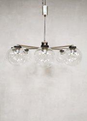 Vintage design glass 8 armed chandelier mad men style hanglamp