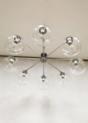 Hanglamp pendant bollamp vintage chandelier design bollamp 8 arms Italian mad men style seventies