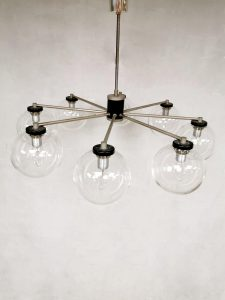 Vintage design glass 8 armed chandelier mad men style hanglamp