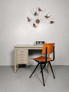 Vintage midcentury industrial writing desk industrieel bureau Backfield Kampen