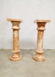 Antique marble column plant stand pillar marmeren zuil 'marble pink'