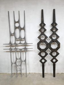 Vintage metal wall art sculpture wanddecoratie 'Brutalism'