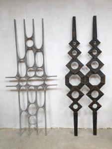 Vintage metal wall art sculpture wanddecoratie 'Brutalism'
